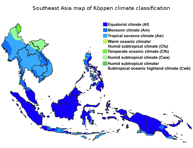 Climate Zone Map Of Asia.Southeast Asia Map Of Koppen Climate Classification Svg Ref Geo