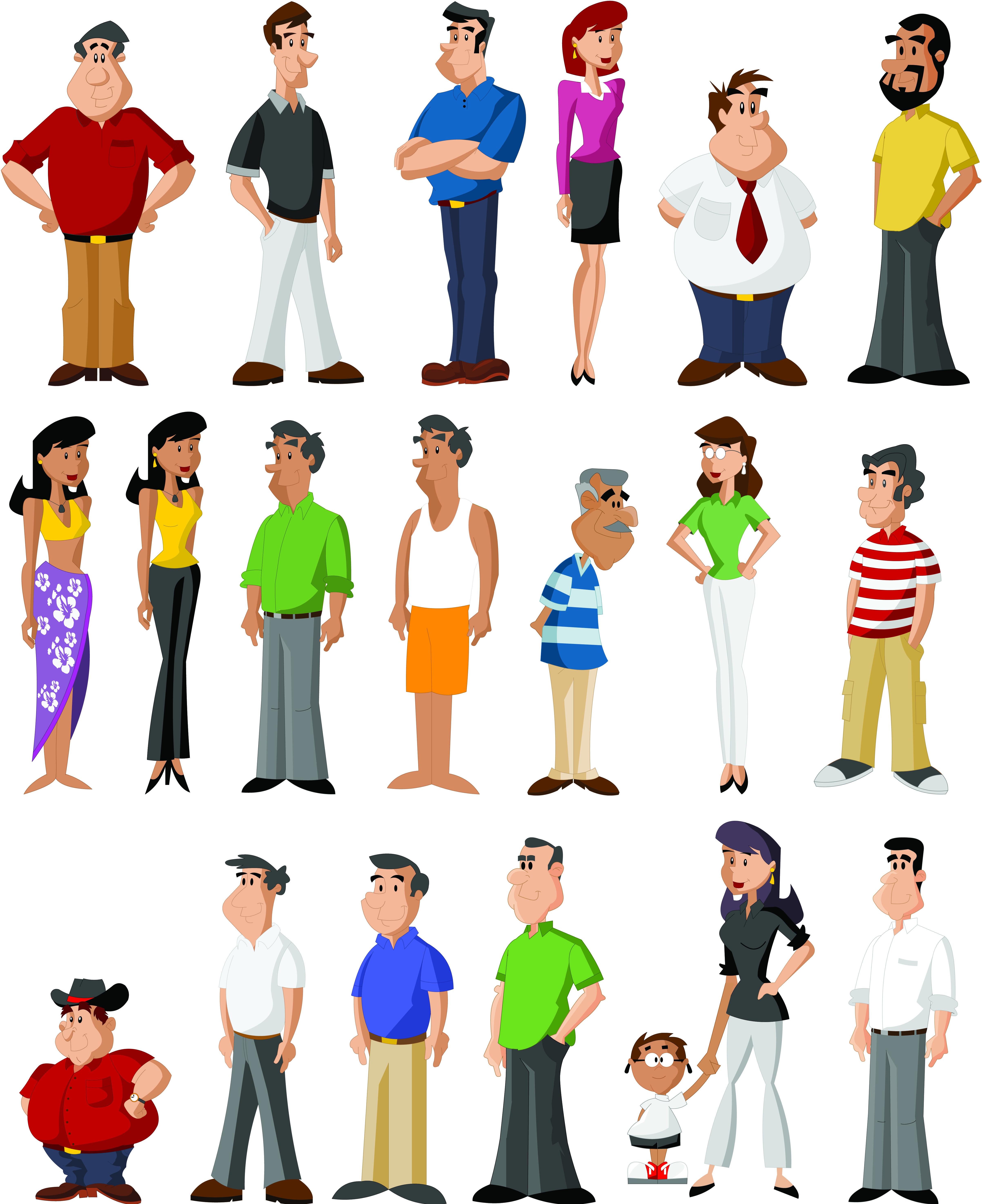 Character Design Free : Free vector all kinds of cartoon characters cool