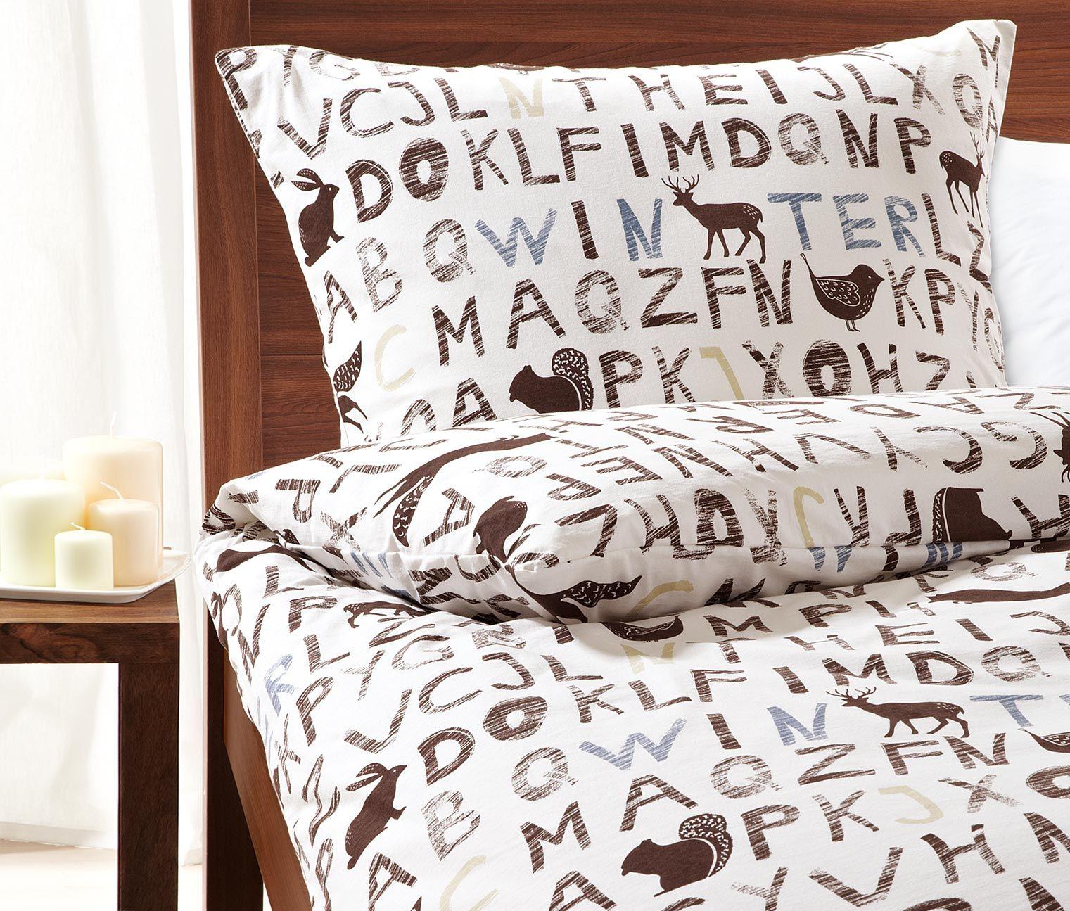 jetzt aber ab ins bett jersey bettw sche mit buchstaben und tieren f r 29 95 bei tchibo. Black Bedroom Furniture Sets. Home Design Ideas
