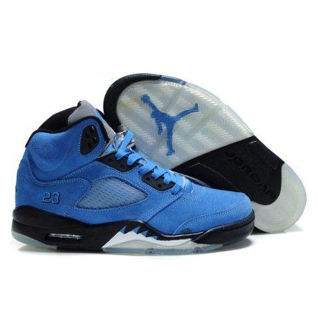 New Air Jordan 5 (V) Fluff Blue/Black-White Basketball Shoes Store