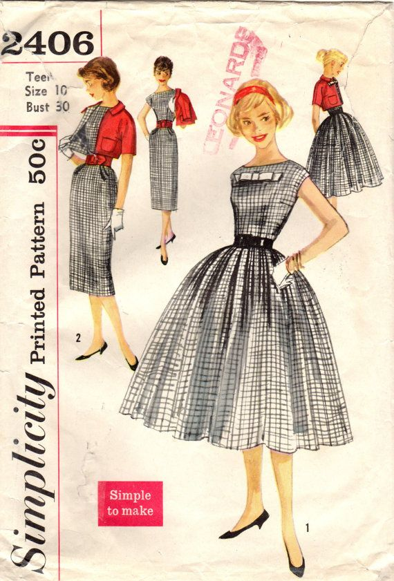 1950s simplicity 2406 vintage sewing pattern teen 39 s dress. Black Bedroom Furniture Sets. Home Design Ideas