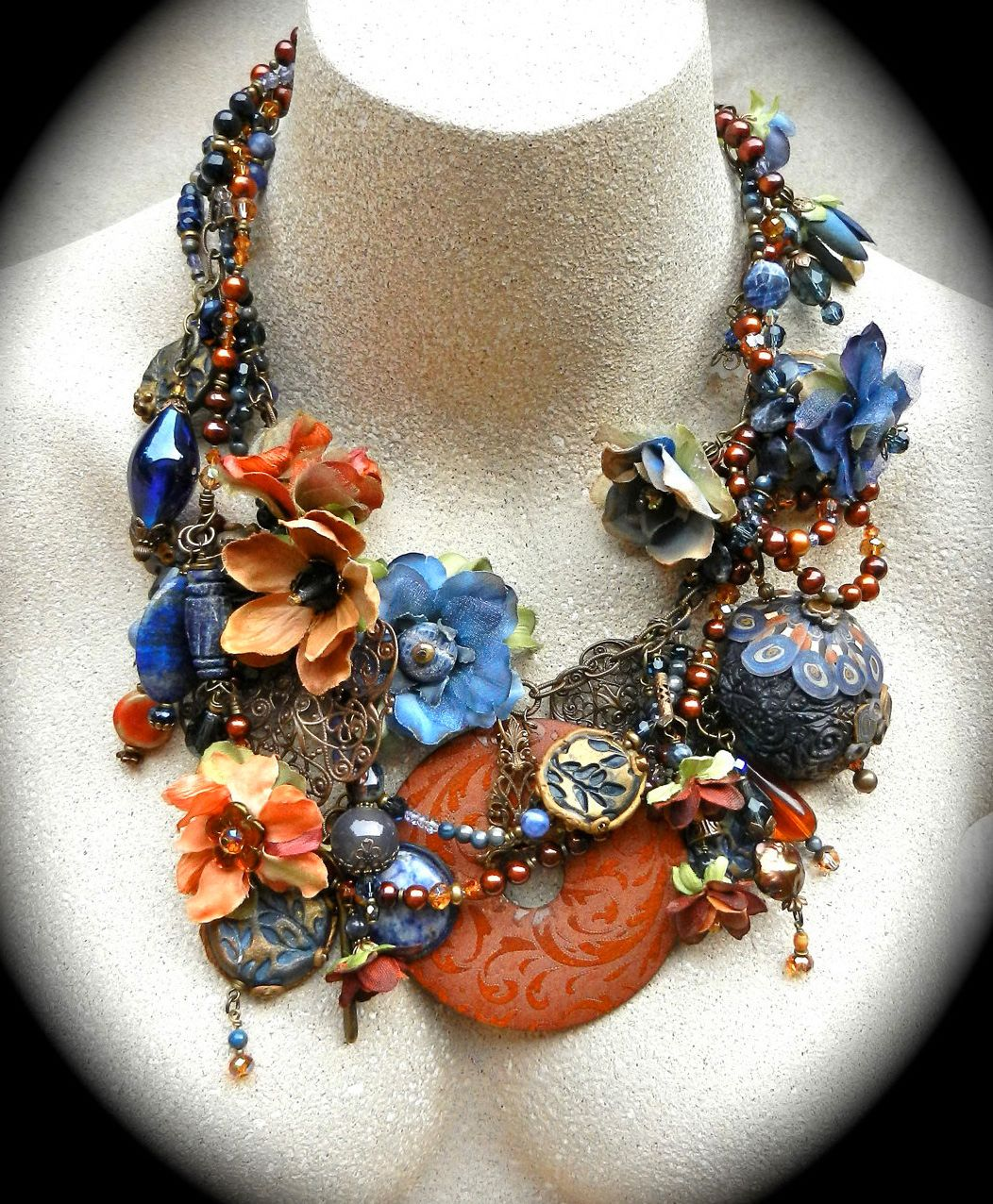 Beautiful floral textile jewelry by Karen Taylor | Beads Magic