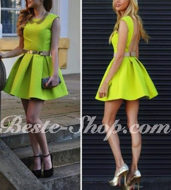 neon green backless little dress Price: $19