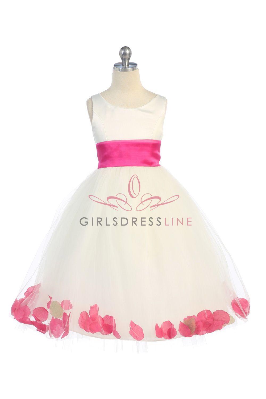 5e0e3fefd37 Ivory Fuchsia Satin   Tulle Flower Girl Dress with Petals   Sash B1170-IF   40.95 on www.GirlsDressLine.Com