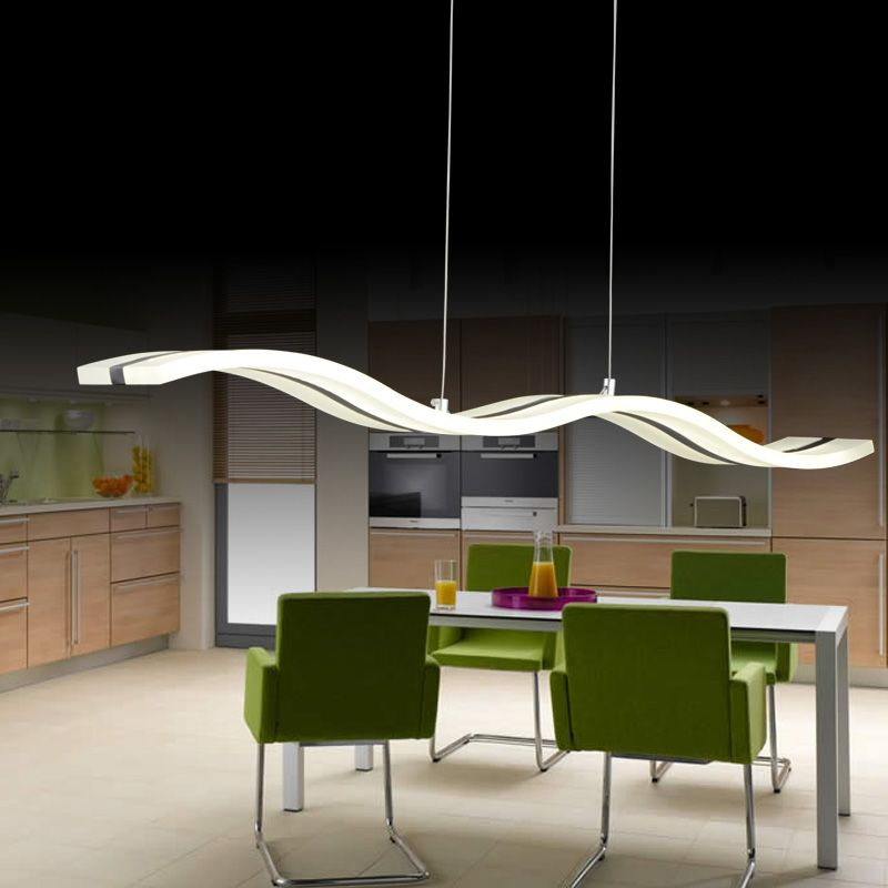 Wave Shape Dimmable LED Modern Pendant Light Creative Novelty Home Indoor Lamp For Dining Room Living Makeover