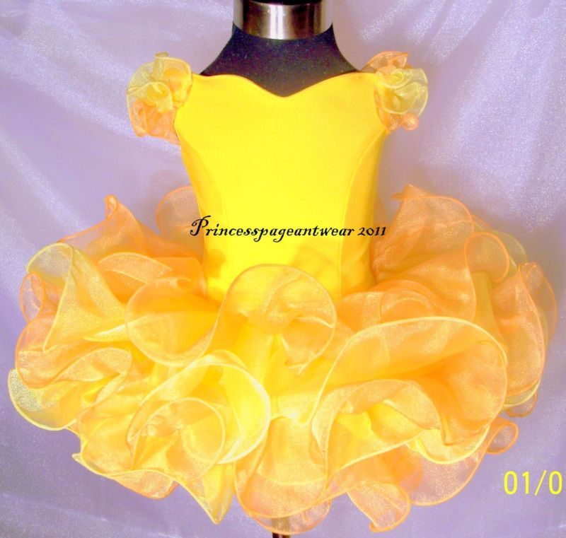 yellow and mango pageant shell
