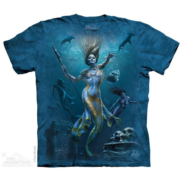 T-shirt | Mermaid Hunt T-shirts  $19.99 This high quality T-shirt is hand dyed and printed in the United States. This is not an iron-on decal that will crack and flake off. The ink is deeply embedded in the fibers which guarantees a long lasting print design and extraordinary comfort.  100% Cotton Pre-shrunk