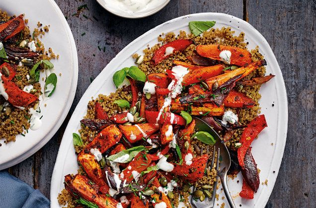 Harissa roasted root veg with herby yogurt recipe vegetable harissa roasted root veg with herby yogurt dinner for tworoot vegetablesvegetable proteinrootsprotein packquinoavegetarian recipesyogurtreal foods forumfinder Gallery