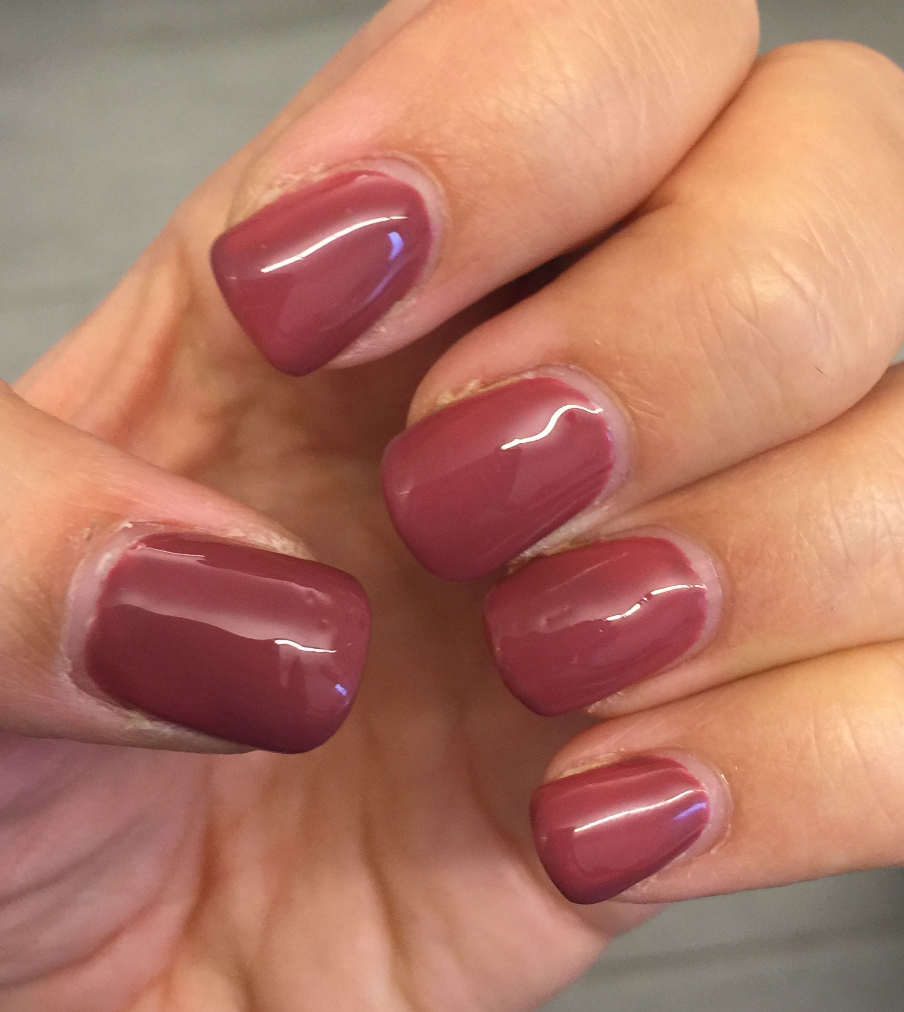 Berry Nude gel nails.