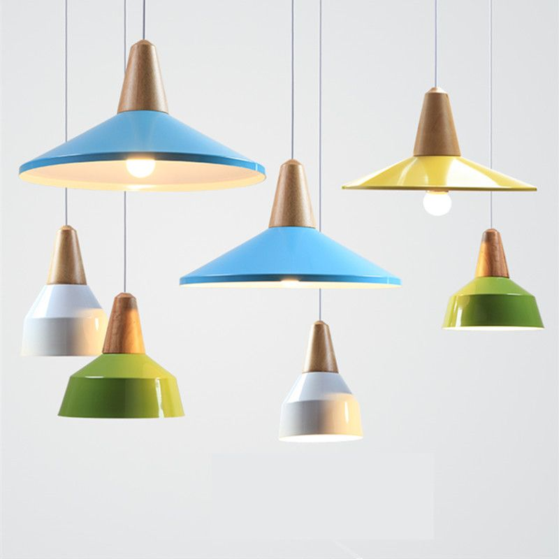 Tanie Nowoczesny Lekki Wisiorek Drewna I Aluminium Lampy