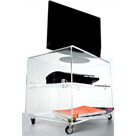 Carrello porta TV 60x39 h:45 in plexiglass trasparente. Prezzo 370 ...