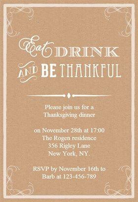 free thanksgiving invitation templates