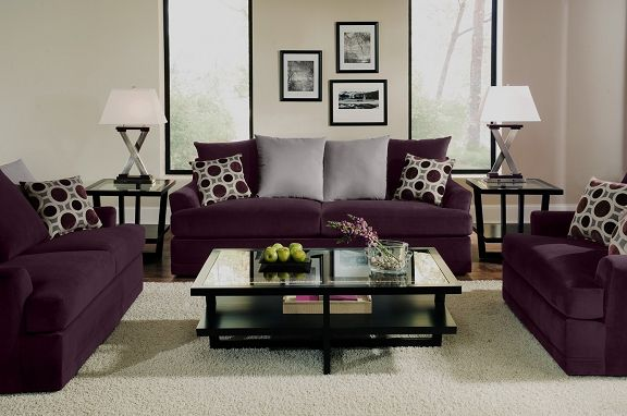 Attractive Berkeley Plum Upholstery Collection | Furniture.com. Purple Microfiber Sofa  With Reversible Seat Cushions