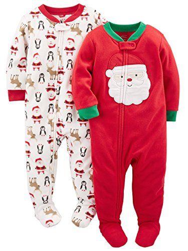 Simple Joys By Carter S Baby 2 Pack Holiday Footed Pajamas Ivory Santa Red Santa 12 Months Baby Pajamas Foot Pyjamas Diy Baby Clothes