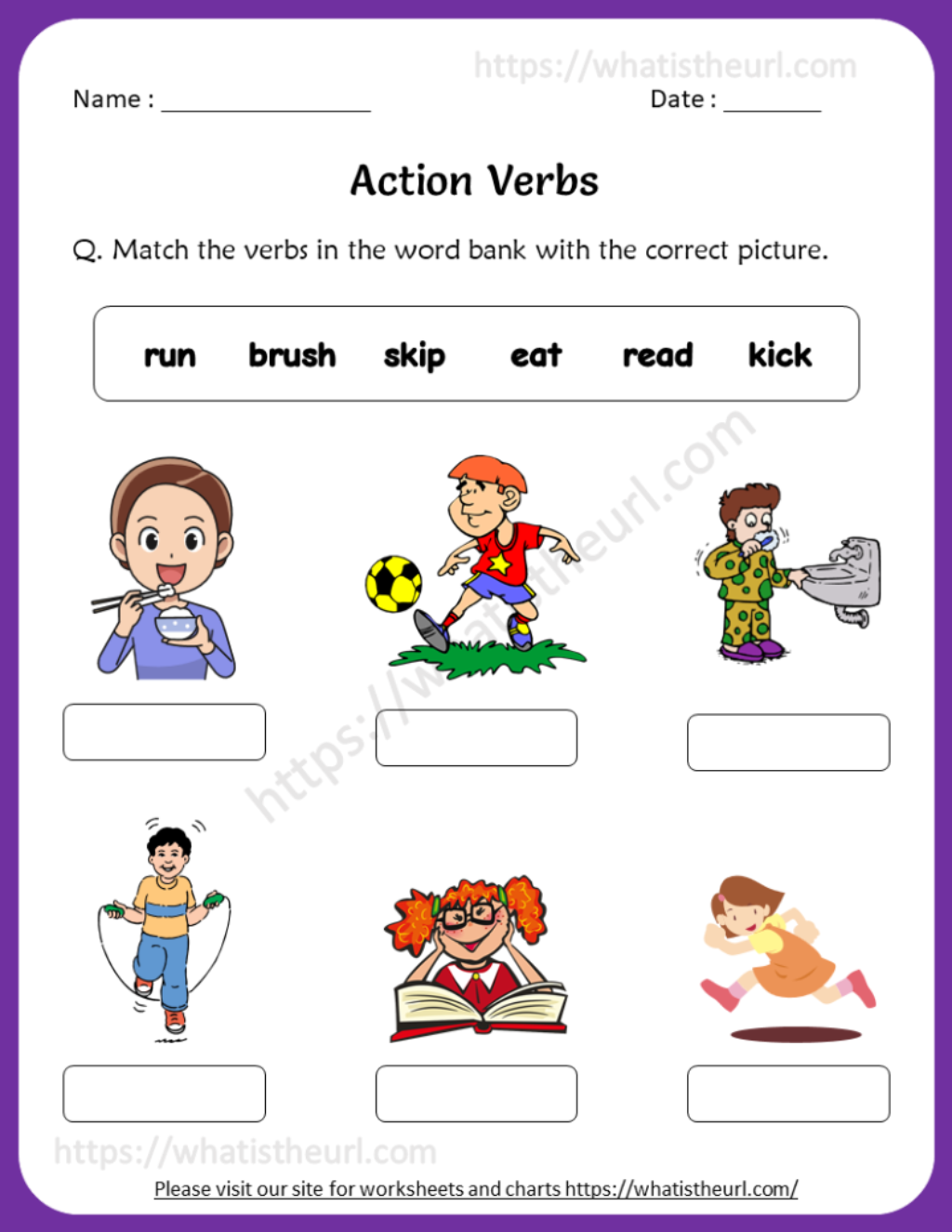 Action Verbs Worksheets For 1st Grade