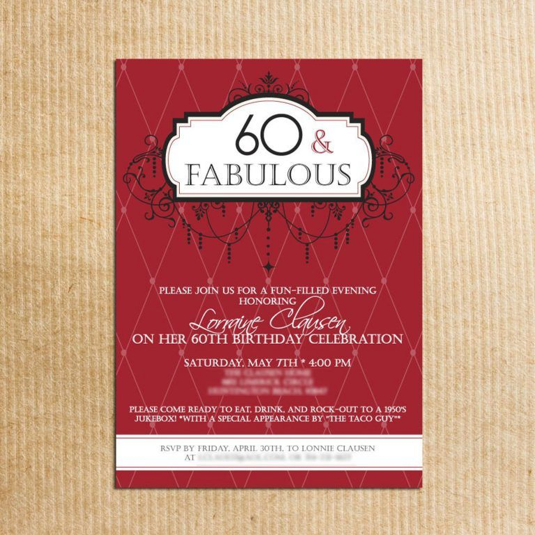 Fabulous Celebration 60th Birthday Party Invitations Card Sample