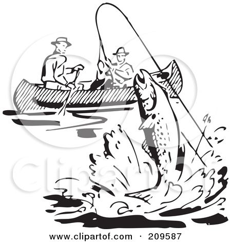 209587 Royalty Free RF Clipart Illustration Of Retro Black And White Men Fishing In A Boat Fish Leaping 450x470