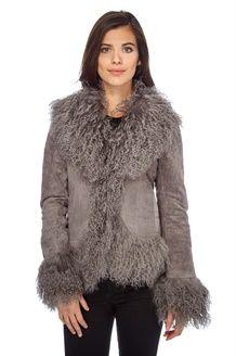 online store 28e89 b3979 Cappotto in Crosta di Pelle e Pelliccia d'Agnello - Grigio ...