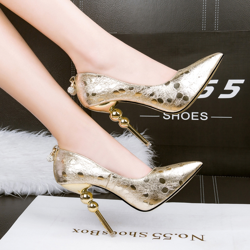 24.59$  Buy here - DS268-10 Crystal Fashion Woman Thin High Heels Pump Lady' Sexy Pointed Toe Slip On Woman Wedding Shoes Gold and Silver Color  #buyininternet