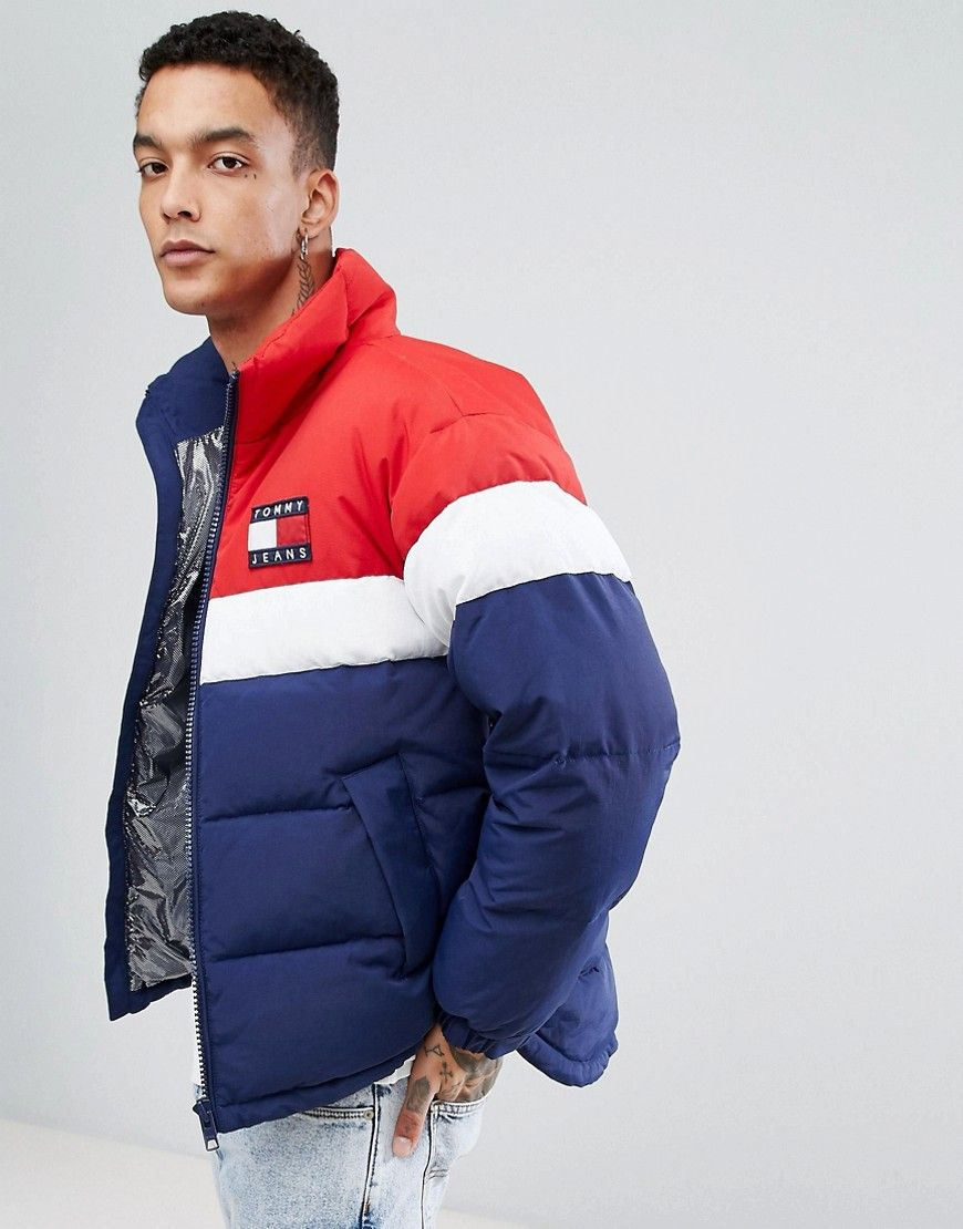 be7e169cdf3e TOMMY JEANS 90 S CAPSULE PUFFER JACKET ICON COLORS IN NAVY WHITE RED -  NAVY.  tommyjeans  cloth