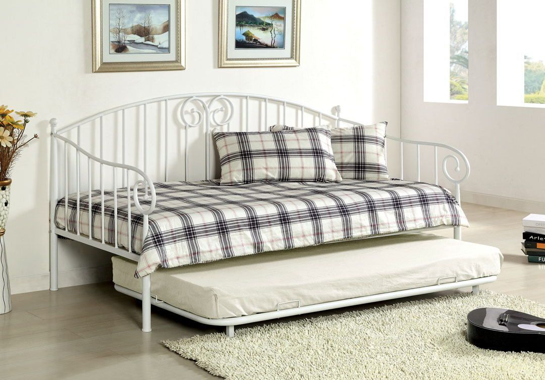 - CM1603WH Hamden White Metal Finish Curvy Wrought Iron Look Daybed