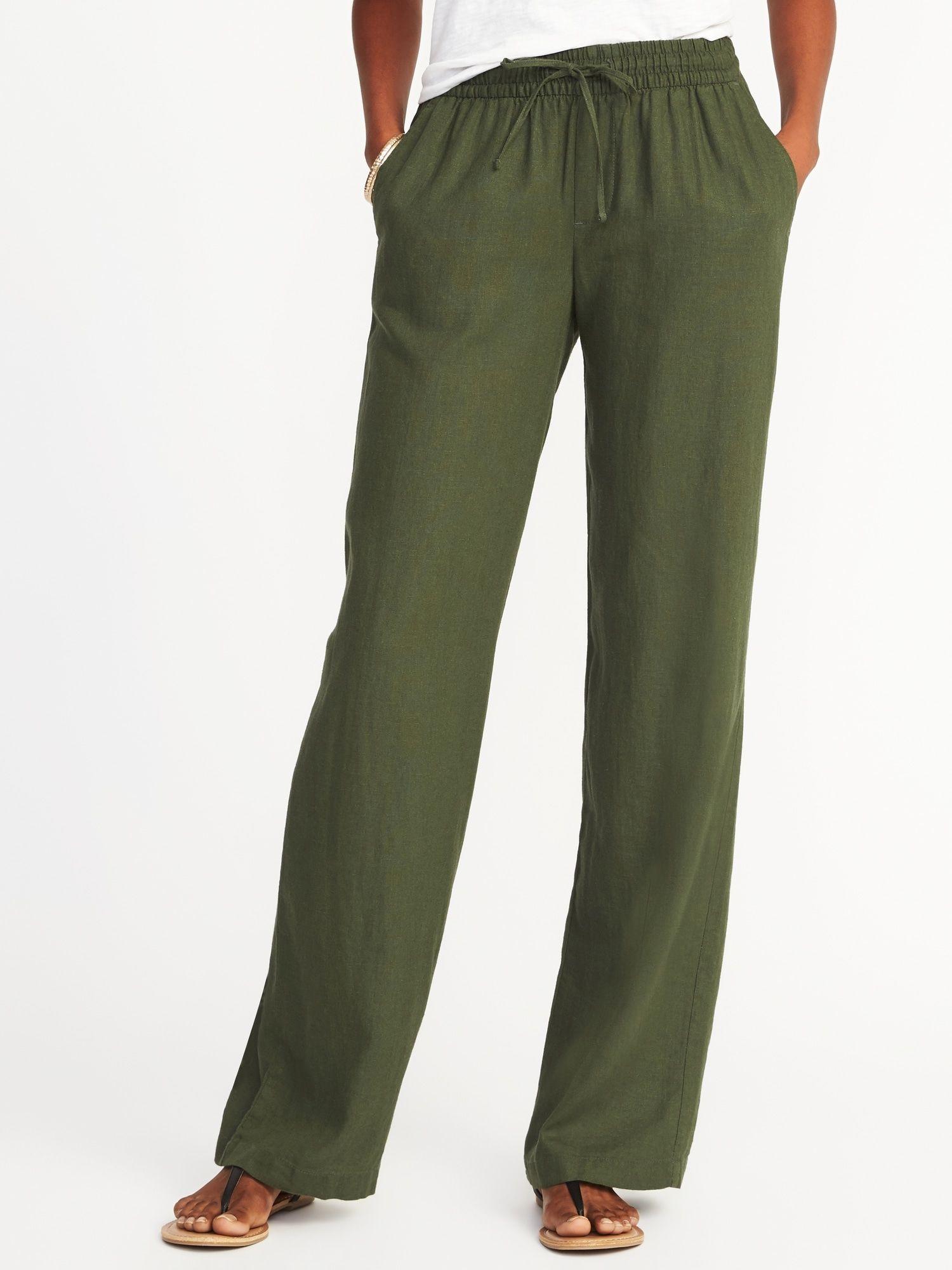Old Navy Women/'s Black Linen Blend Pants Size S Petite