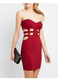 Caged Strapless Bodycon Dress