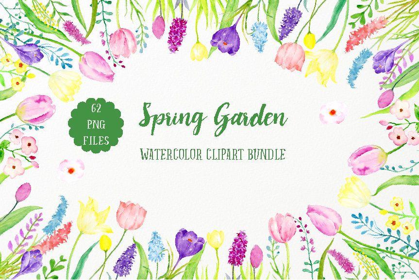 Spring Flower Clip Art Watercolor Spring Garden Bundle Spring