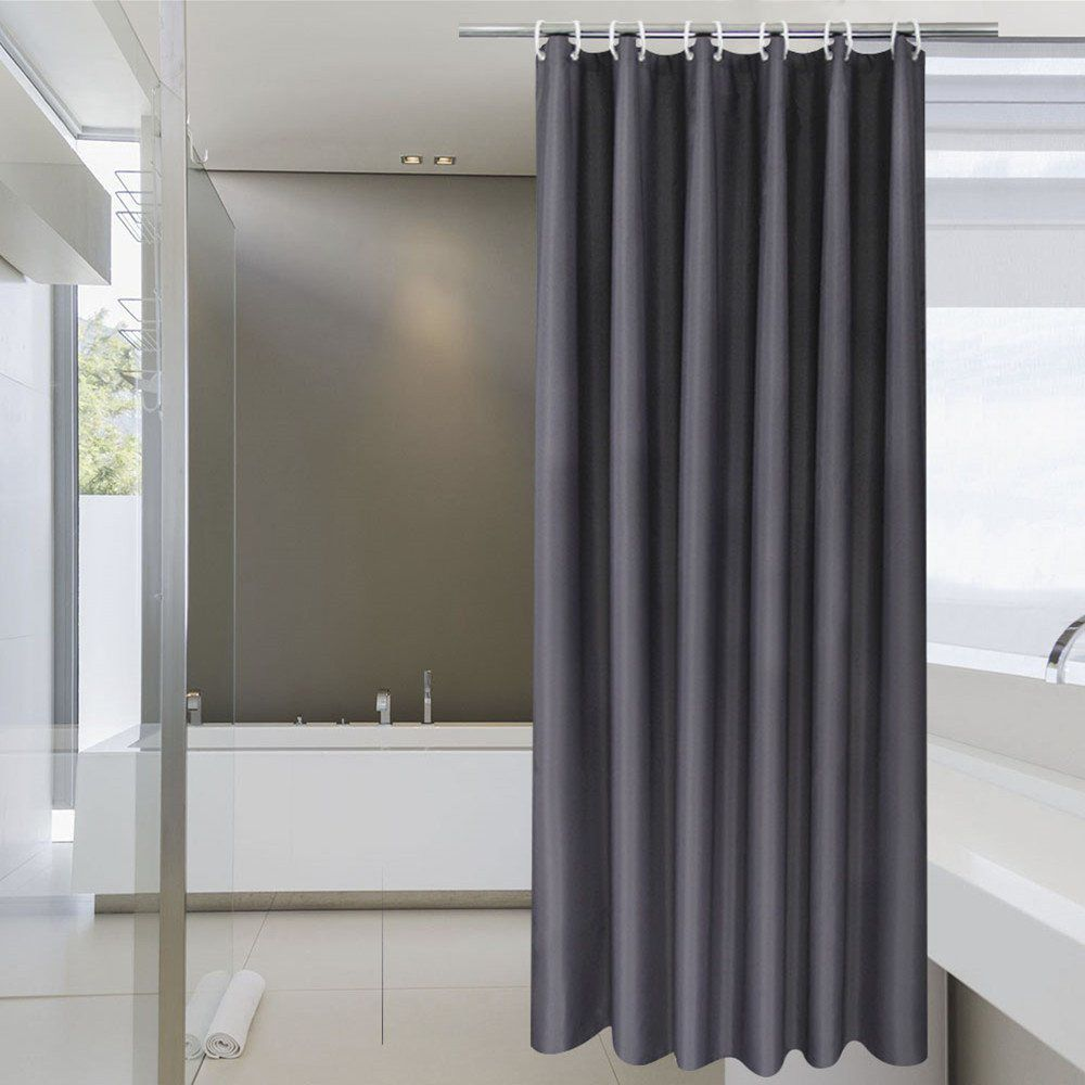 Solid Fabric Bathroom Curtain With Hooks Waterproof 36 Inch X 72