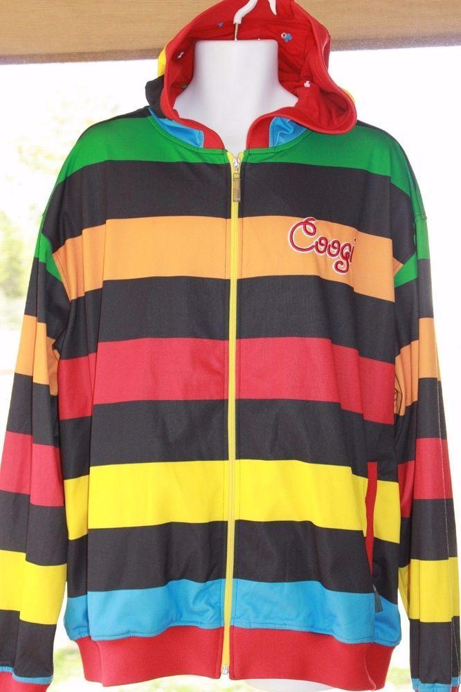 f89cfe272f92 Coogi Men s Rainbow Striped Hoodie Zip Up Jacket Sweatshirt XXL 2XL  Coogi   Hoodie