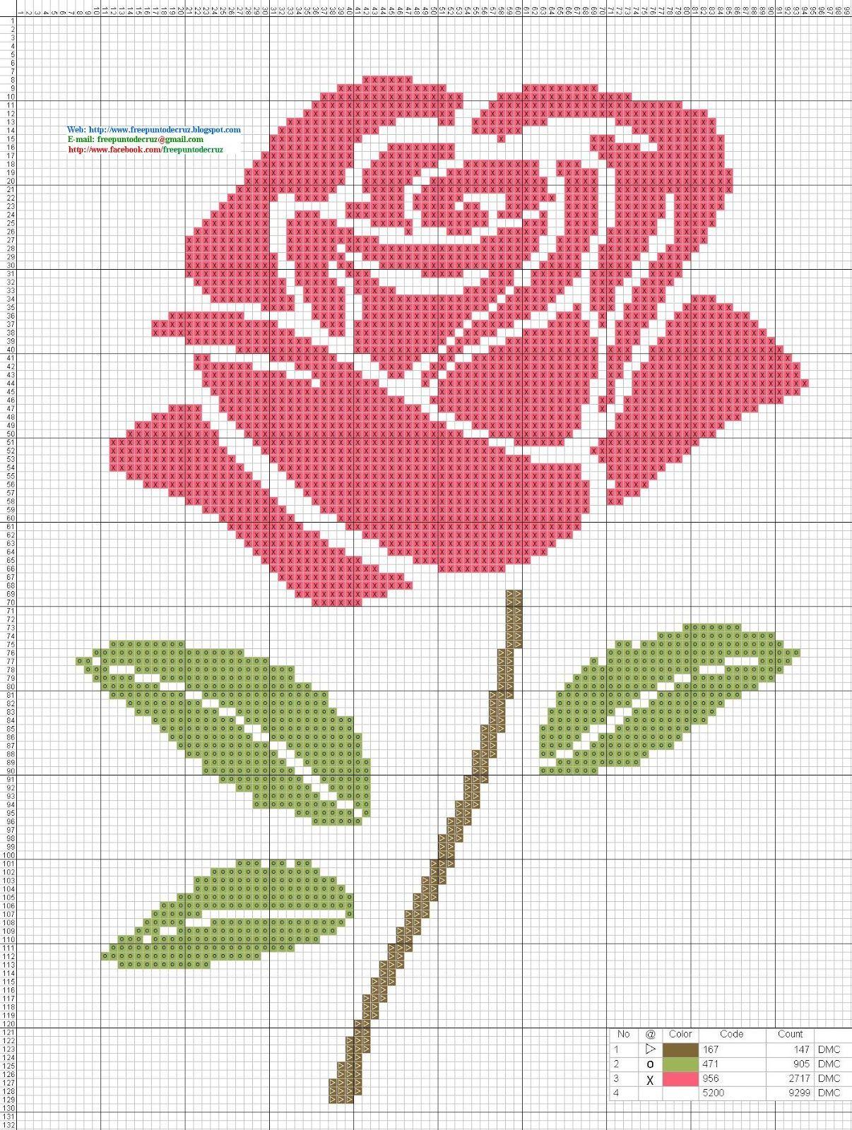 Rosa_Pink_-_Punto_de_cruz.jpg   Вышивка \\ Stitching   Pinterest ...