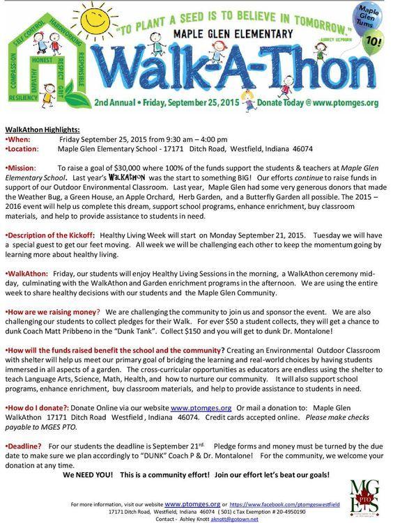 walk a thon pledge sheets
