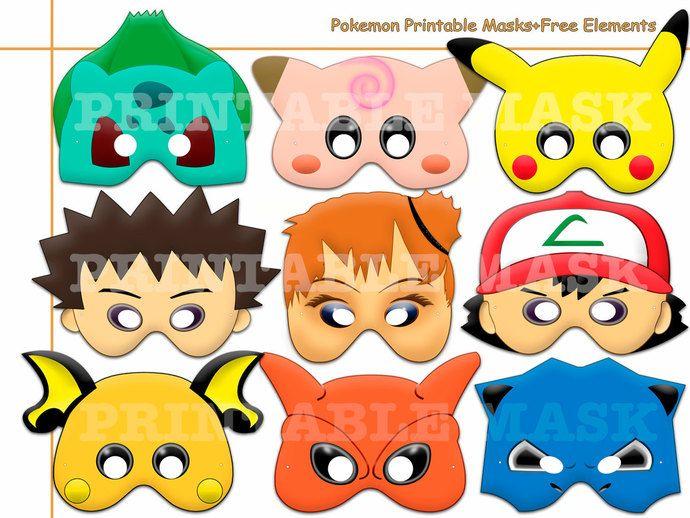 Good Unique Pokemon Printable Masks+Free Elements, Photo Booth, Pokemon Mask,  Kids Costume, Pokemon Party Decor, Pikachu Mask, Halloween Mask