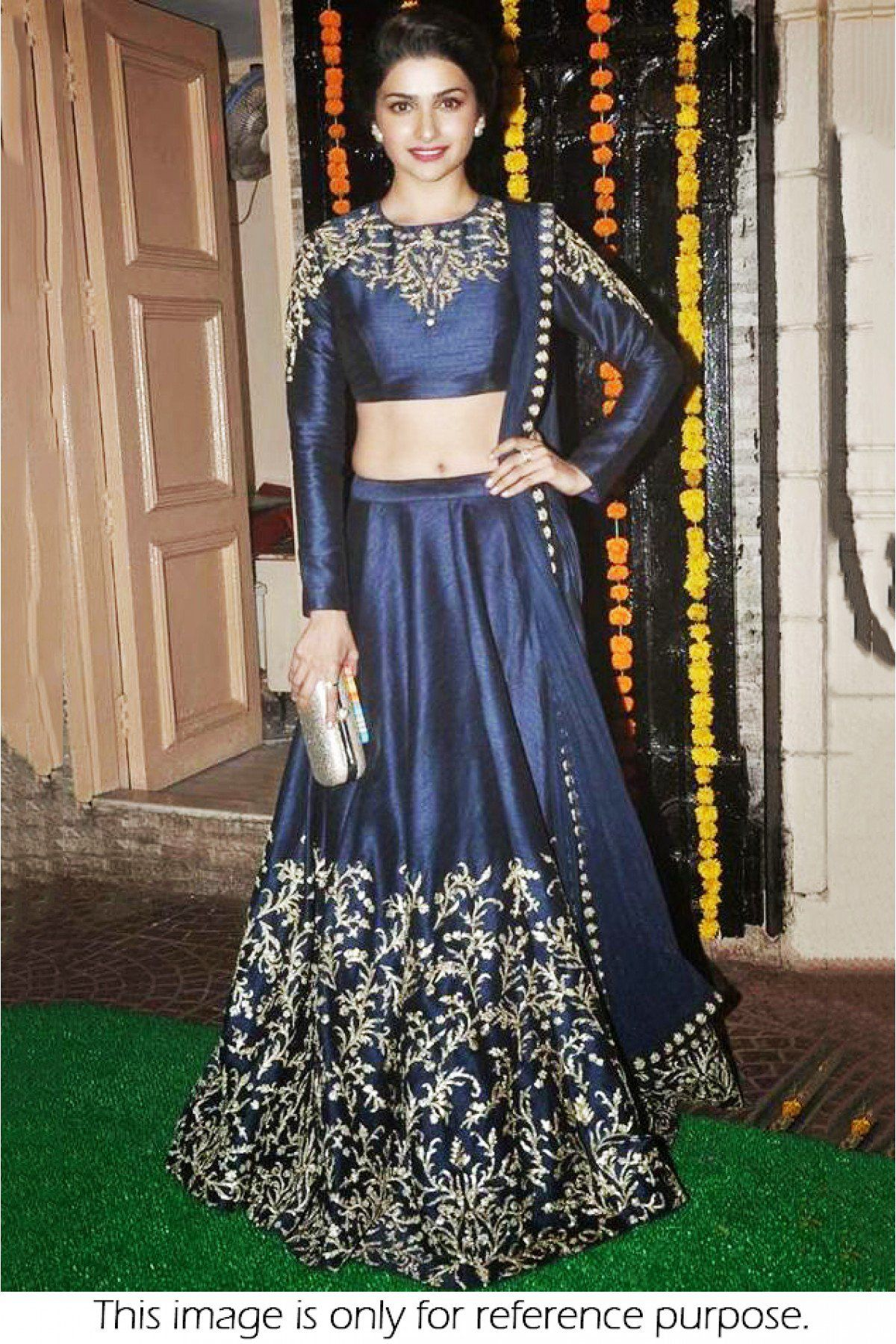 22f1f5fec2 Bollywood Style Prachi Desai Satin Chiffon Lehenga In Blue Colour NC1467  Blue Colour Satin Chiffon Fabric
