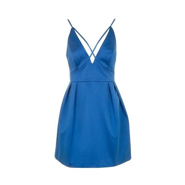 Topshop Cross Front Mini Prom Dress (€39) ❤ liked on Polyvore featuring dresses, blue, cocktail party dress, blue formal dresses, formal party dresses, formal prom dresses and night out dresses