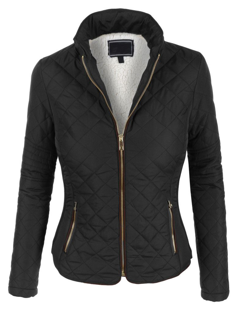2c5e423257d LE3NO Womens Lightweight Quilted Puffer Zip Up Jacket with Pockets ...