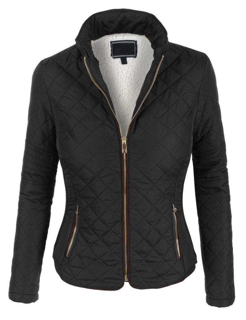 Womens Lightweight Quilted Puffer Zip Up Jacket with Pockets   Zip ... : lightweight quilted jackets - Adamdwight.com