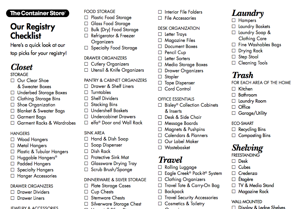 Wedding registry checklist from the container store for Popular wedding registry locations
