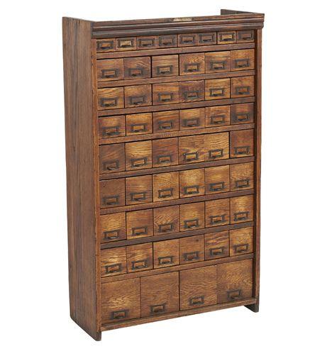 Large Oak 64 Drawer Hardware Cabinet By W C Heller In 2019