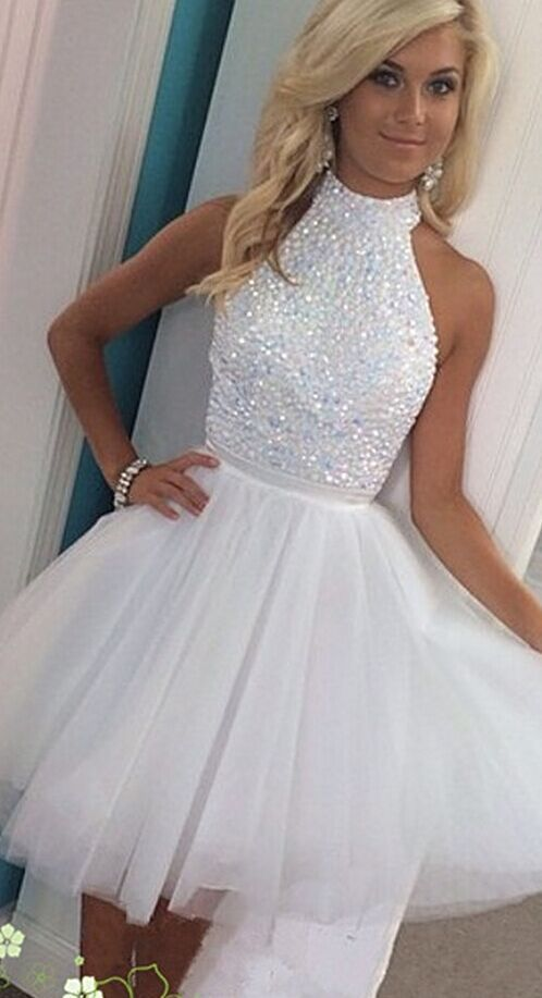 2bdd4a795af8 Hont Sale White Halter Beading Homecoming Dresses,Sparkly Short Homecoming  Dress For Teens, Pretty Graduation Dresses,Modest Cocktail Dresses