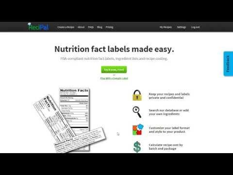 create generate nutrition labels nutritional label creator