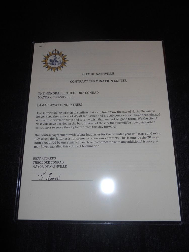 Nashville TV-Show Lamar Wyatt Industries Termination Letter - production contract agreement