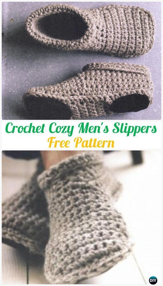 Crochet Cozy Men\'s Slippers Free Pattern | Crochet | Pinterest | Häkeln