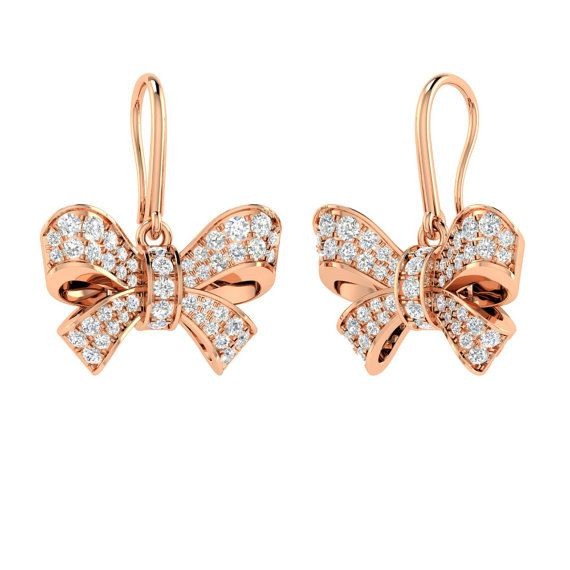 Natural Diamond Earrings Drops in Bow Shaped 14K by Diamondere