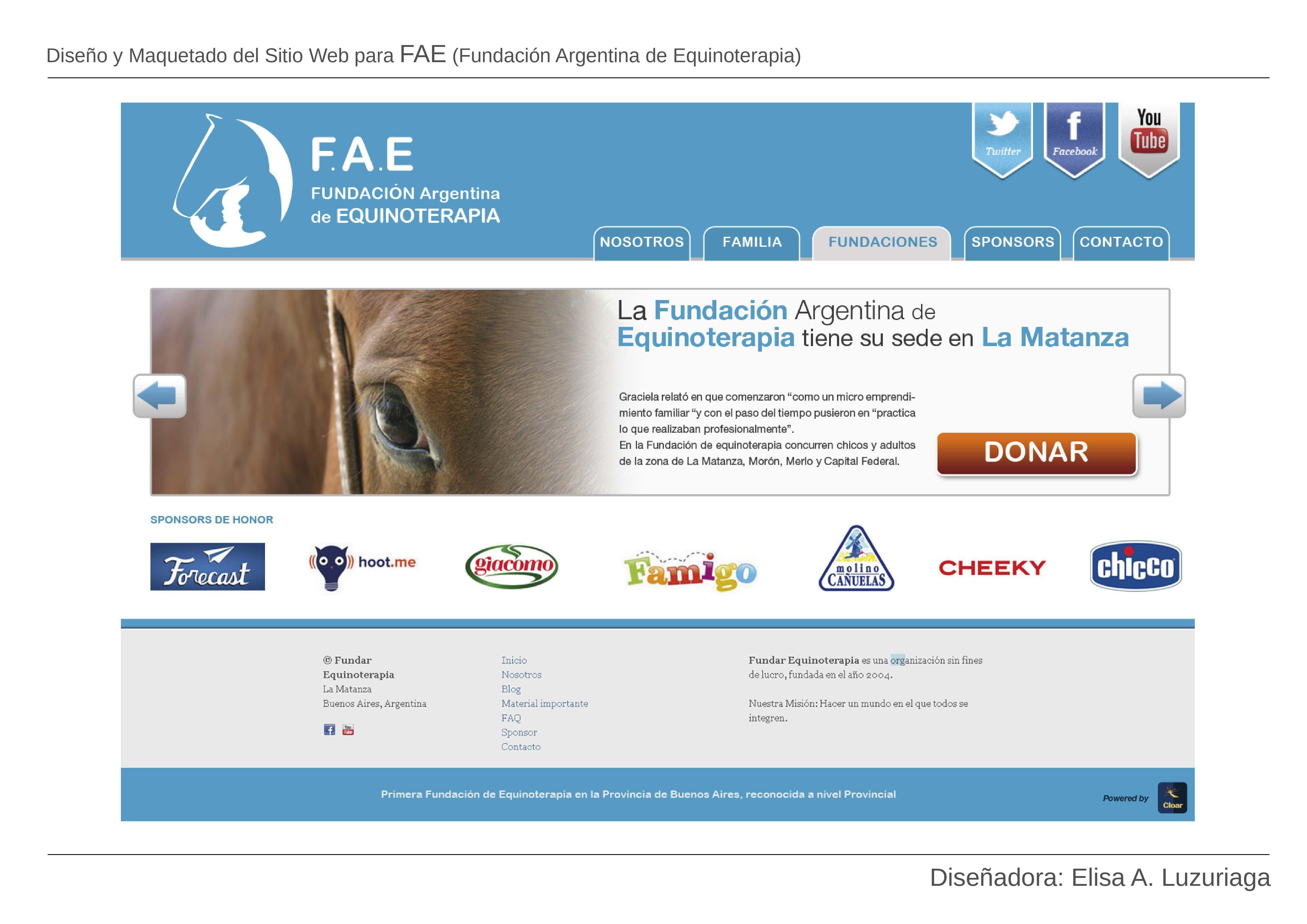 Diseño y Maquetado del Sitio Web para FAE (Fundación Argentina de Equinoterapia)