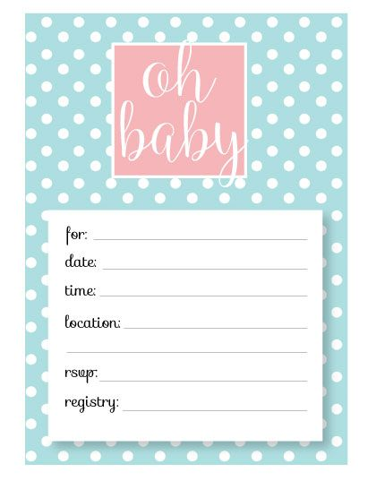 Free Baby Shower Invitation Templates Printable Baby Shower - Card template free: invitation card template for baby shower