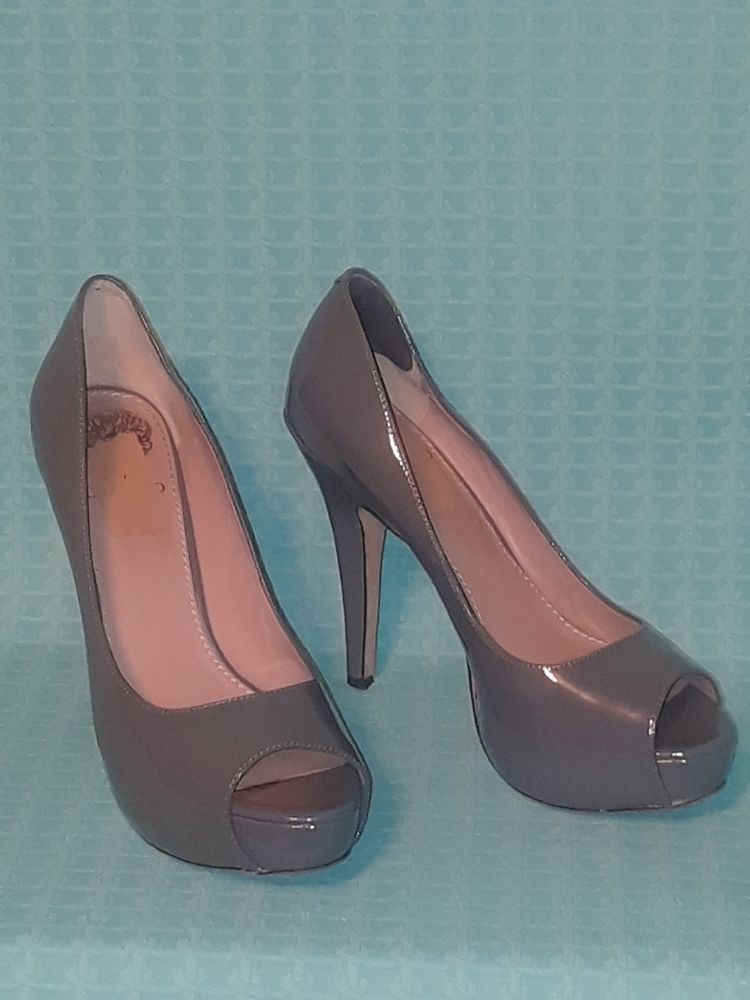 3d79ee8d2ca VINCE CAMUTO Gray Patent Leather Platform peep toe high heels. Size 8 B.   fashion  clothing  shoes  accessories  womensshoes  heels (ebay link)