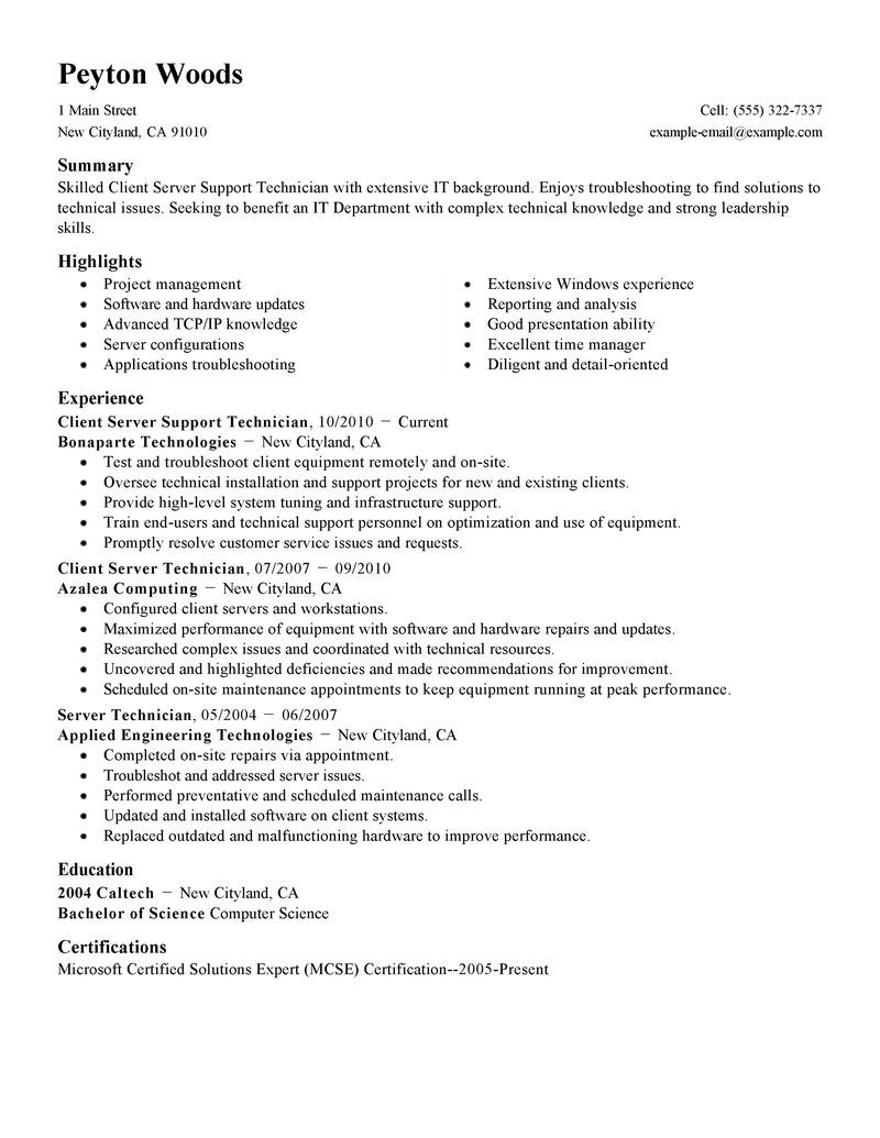 Client Server Technician Resume Examples Samples Shift Leader