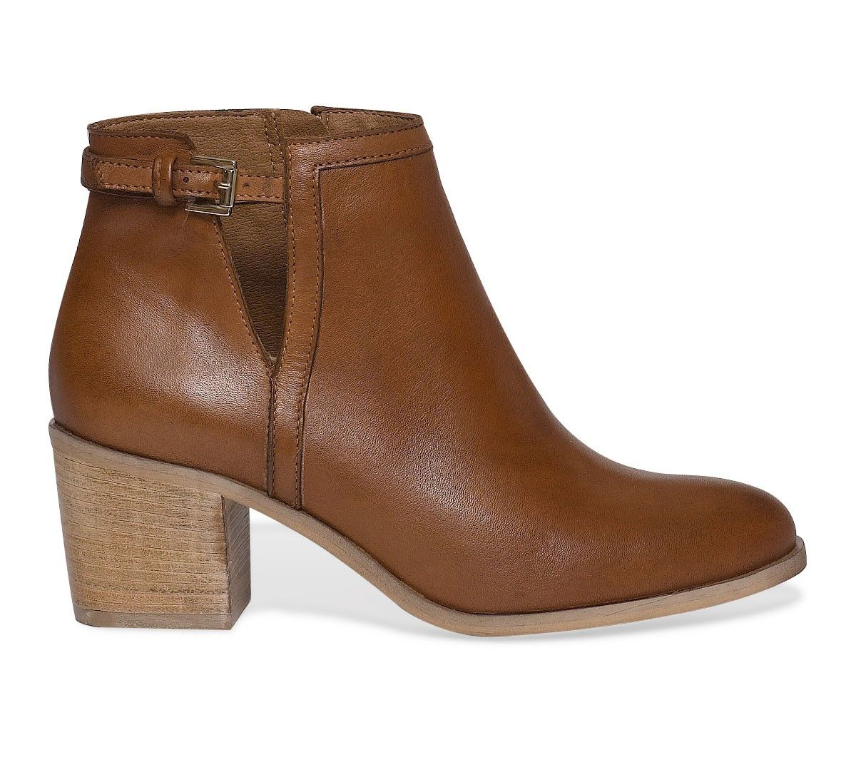 boots cut out cuir cognac - boots / bottines - chaussures femme