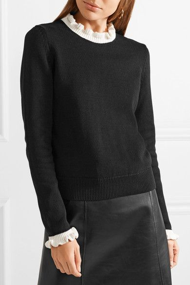 Free Shipping Outlet 2018 Ruffle-trimmed Cotton Sweater - Black Red Valentino Explore Sale Online Free Shipping Classic 2018 Unisex Online wmXcd